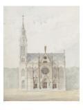 Eglise paroissiale à Napoléonville (Pontivy, Morbihan) : façade principale et coupe transversale Giclée-Druck von Marcellin Varcollier