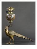 Lampe à pétrole soutenue par un faisan Reproduction procédé giclée