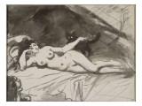 Femme nue, étendue sur un lit, la femme au chat Giclee Print by Édouard Manet