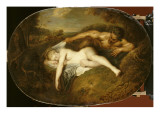 Nymph and Satyr Sometimes Called Jupiter and Antiope Giclee Print by Jean Antoine Watteau