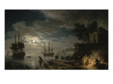 La Nuit : un port de mer au clair de lune Reproduction proc&#233;d&#233; gicl&#233;e par Claude-Joseph Vernet