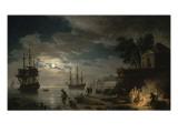 La Nuit : un port de mer au clair de lune Giclée-tryk af Claude Joseph Vernet
