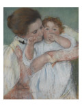 Mother and Child on a Green Background or Maternity Giclee Print by Mary Cassatt