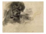 """Homme nu, en buste, de profil à droite, mordant et s'agrippant; étude pour """"La Barque de Dante"""" Giclee Print by Eugene Delacroix"""