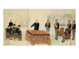 N&#233;gociations de Paix avec Li Hongzhang &#224; Shimonoseki Reproduction proc&#233;d&#233; gicl&#233;e par Kiyochika Kobayashi