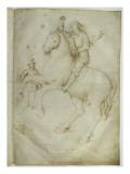 Neuf personnages ; un cavalier saute à cheval au-dessus d'un tombeau ouvert Giclee Print by Jacopo Bellini