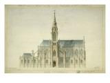 Eglise paroissiale à Napoléonville (Pontivy, Morbihan) : façade nord, élévation Giclée-Druck von Marcellin Varcollier