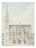 Eglise paroissiale à Napoléonville (Pontivy, Morbihan) : façade principale, élévation Giclée-Druck von Marcellin Varcollier