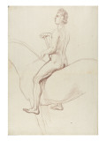 Naked Man on Horseback, Seen in Profile, Turning Left Giclee Print by Edme Bouchardon