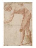 Homme nu, vu de profil, penché en avant et tourné vers la gauche Giclée-Druck von Daniele Da Volterra