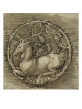 Ornament with a Deer Lying in a Circle of Oak Branch Giclee Print by Albrecht Dürer