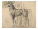Suivantes de Sémiramis et cheval, étude pour Sémiramis Giclée-tryk af Edgar Degas