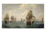 Combat naval de la Dominique, le 17 avril 1780 Stampa giclée di Pierre Julien Gilbert