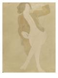 Femme nue, portant une veste brune Gicléetryck av Auguste Rodin