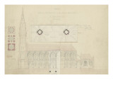 Eglise paroissiaà Napoléonvil(Pontivy, Morbihan) : coupe longitudinale, trois plans du clocher Giclée-Druck von Marcellin Varcollier