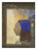 Portrait de jeune femme au bonnet bleu Giclee Print by Odilon Redon