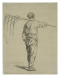 Reaper Carrying a Scythe on His Shoulder, Back View Giclée-Druck von Pierre Edmond Alexandre Hedouin