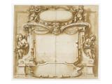 Projet de monument funéraire orné de quatre anges et un mascaron Giclée-tryk af Fabrizio Boschi