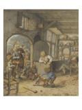 Joueurs de vielle et de violon à la porte d'une auberge Giclée-Druck von Adrien Van Ostade