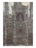 Rouen Cathedral, the Portal Front View, Harmony Brown Giclee Print by Claude Monet