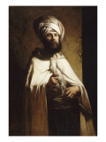 Portrait du peintre et graveur belge Charles Cousin en costume arabe Reproduction procédé giclée par Louis Gallait