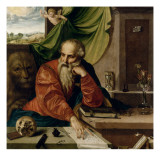 Saint J&#233;r&#244;me en m&#233;ditation Giclee Print by Georg Pencz