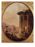 Ruines romaines avec personnages Reproduction proc&#233;d&#233; gicl&#233;e par Hubert Robert