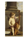 Putto jouant de la basse de viole Reproduction proc&#233;d&#233; gicl&#233;e par Laurent de La Hyre