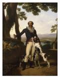 Portrait d'un chasseur avec ses chiens dans un paysage, dit Portrait d'Alexandre Dumas père Giclée-tryk af Louis Gauffier