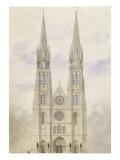 Saint-Denis : église abbatiale, projet de reconstruction de la façade occidentale Giclée-Druck von Eugène Viollet-le-Duc