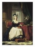 Reine Marie-Antoinette assise, en manteau bleu et robe blanche, tenant un livre à la main Giclée-Druck von Elisabeth Louise Vigée-LeBrun