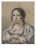 Portrait d'Angélique Vouet vers cinq ans tenant une colombe Giclée-Druck von Simon Vouet