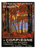 Affiche du Chemin de fer du Nord Reproduction proc&#233;d&#233; gicl&#233;e