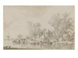 Bord de rivière avec des habitants Giclée-Druck von Jan Van Goyen
