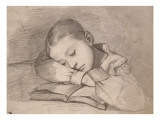 Portrait de Juliette Courbet endormie sur son livre Giclee Print by Gustave Courbet