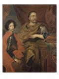 Portrait de Jean III Sobieski, roi de Pologne et d'un de ses fils, Jacques-Louis (1629-1696) Impression giclée par Alexandre Jan Tricius