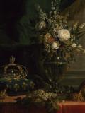 Reine Marie-Antoinette assise, en manteau bleu et robe blanche, tenant un livre à la main Impression giclée par Elisabeth Louise Vigée-LeBrun