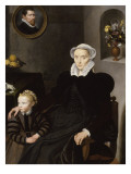 Portrait d'une femme âgée de 40 ans et d'un enfant Giclée-Druck von Cornelius de Visscher