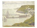 Port en Bessin, avant-port, marée haute (Calvados) Gicléedruk van Georges Seurat