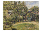 Railway Bridge at Chatou (Yvelines) or Chestnut Rose Giclee Print by Pierre-Auguste Renoir