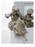 Projet de monument à Antoine Watteau : La jeune fille au masque Giclée-tryk af Jean Antoine Watteau