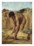 Moissonneurs dans la campagne romaine Lámina giclée por Jules Elie Delaunay