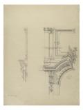 Projet d'encadrement  décoratif d'une porte , étude partielle: partie supérieure gauche et profil Giclee Print by Antoine Zoegger
