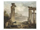 Ruines romaines avec le Colisée Giclee Print by Hubert Robert