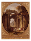 Ruines d&#39;un temple antique avec des lavandi&#232;res Reproduction proc&#233;d&#233; gicl&#233;e par Hubert Robert