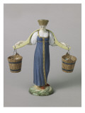 Polychrome Statue: Women Carrying Buckets of Water Giclee Print