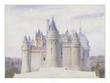 Pierrefonds, château, élévation extérieure sur la ligne C.D. du fossé Giclée-Druck von Eugène Viollet-le-Duc