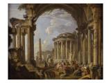 Prédication dans des ruines antiques Impression giclée par Giovanni Paolo Pannini