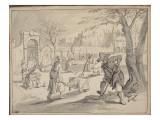 Le Printemps dit aussi Allégorie du printemps: travaux de jardinage Giclée-Druck von Sebastian Vrancx