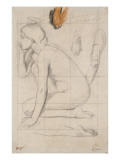 Sheet of Studies for Semiramis: Naked Woman Crouching Giclee Print by Edgar Degas